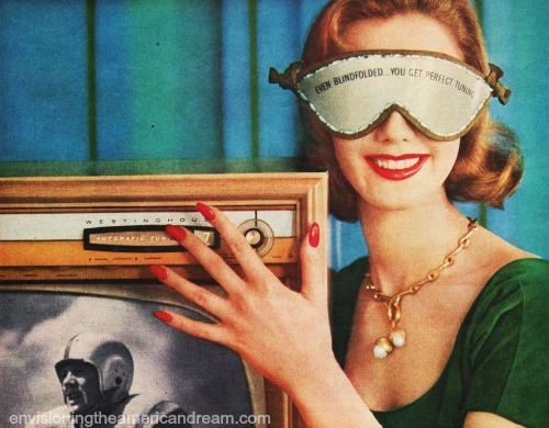 vintage TV set and blindfolded woman