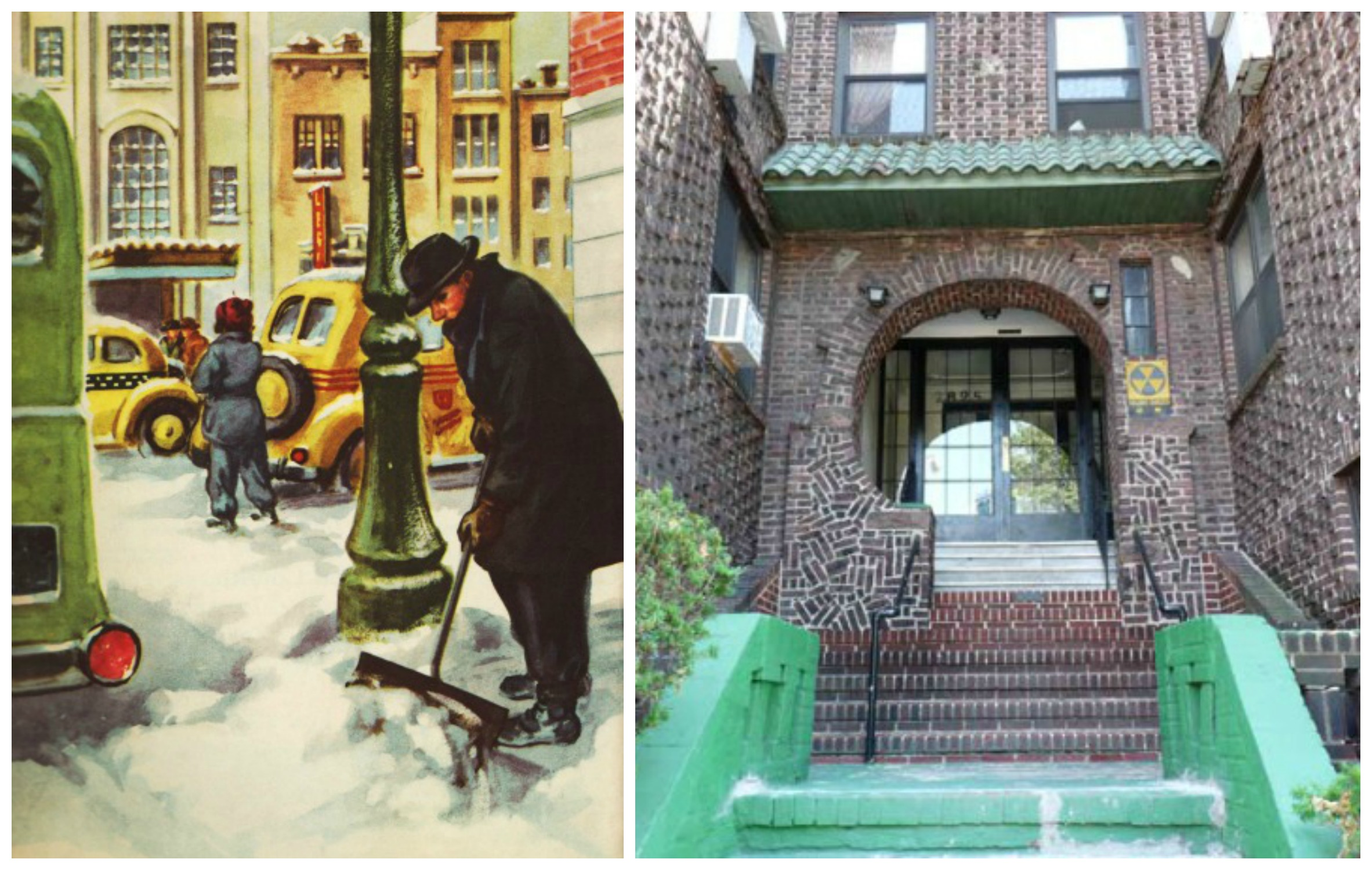 Brick Apartment Building Illustration. Vintage childrens cook illustration man shoveling snow in city streets and apartment  building Queens Revisiting Thanksgiving 1960 Envisioning The American Dream