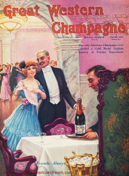 vintage champagne ad illustration 1915 couple celebrating