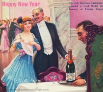 vintage illustration New years Eve Revelers 1915