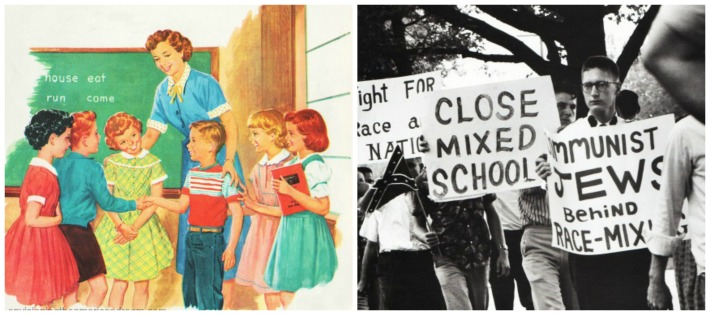 collage civil rights-school integration and vintage school book illustrations