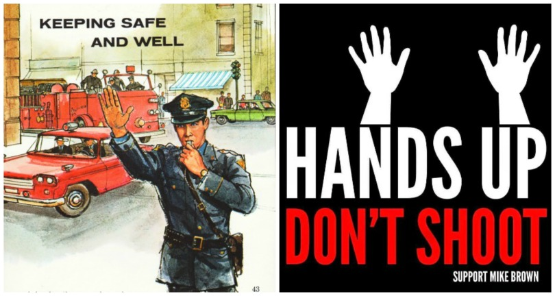 collage vintage illustration policeman poster Hands up don't shoot