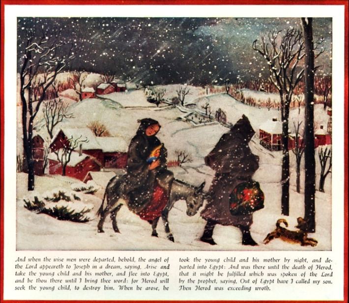 vintage art Mary Joseph and Jesus travel in New England snow storm