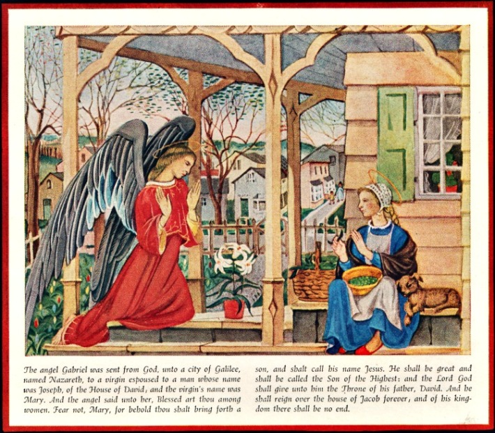 Religion vintage art painting angel Gabriel and Mary