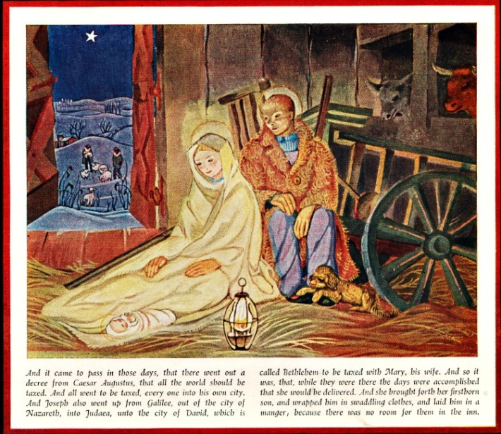vintage art painting Mary, Jesus and Joseph