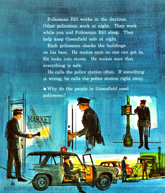 Vintage illustration policeman Children's school book