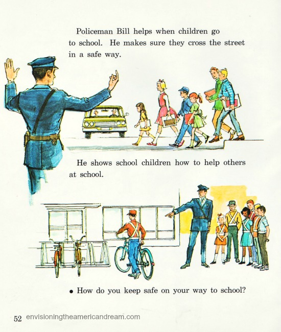 Vintage illustration policeman 1960s Children's school book