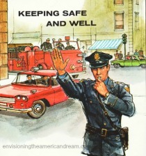 Vintage school book illustration Policeman