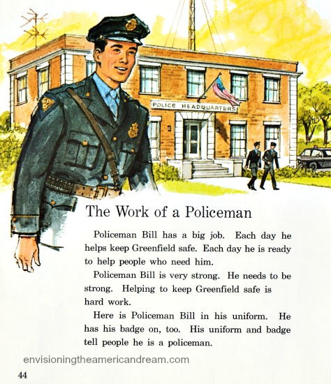Vintage illustration policeman Childrens school book