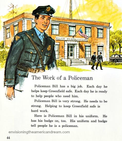 Vintage illustration policeman Childrens school book