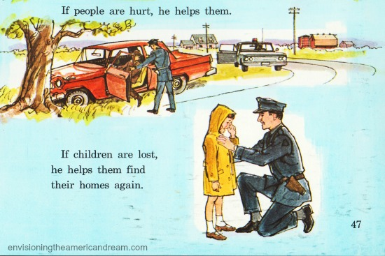 Vintage illustration policeman Children's school book