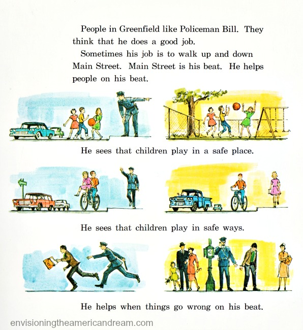 Vintage illustration policemen  Children's school book