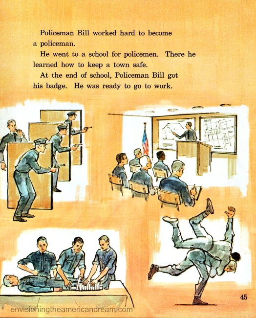 Vintage illustration policemen at academy  Children's school book