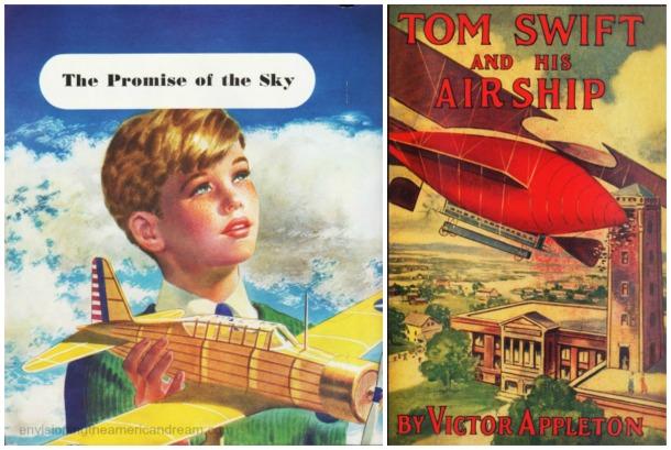 Tom Swift Book cover boyhood illustration boy with model airplane 1930s