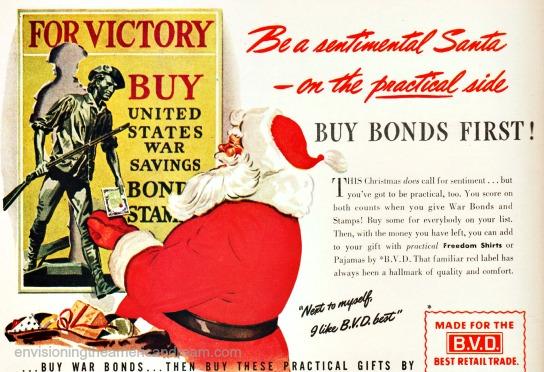 vintage illustration WWII ad Santa and war bonds