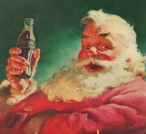 Vintage illustration Santa Coke