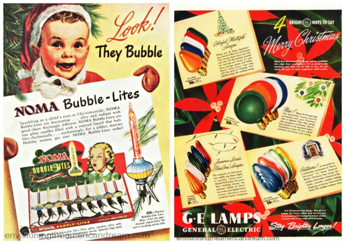 xmas electric lights vintage ads