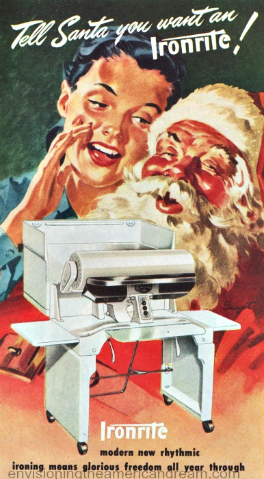 Vintage illustration housewife and Santa