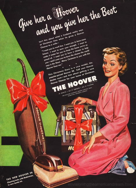 Vintage sexist ad Hoover 1946 illustration housewife vacuum cleaner