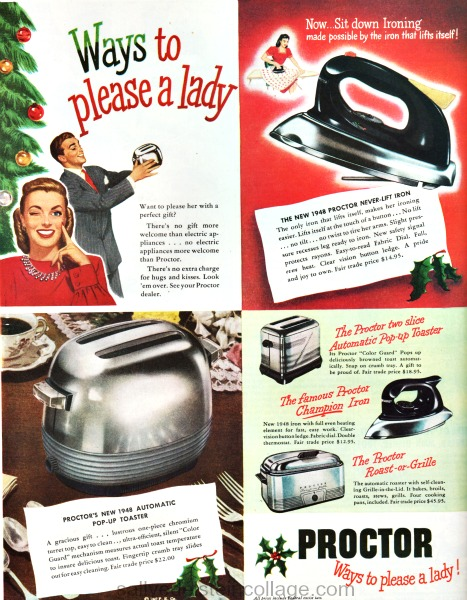 Vintage sexist Xmas ad Proctor appliances