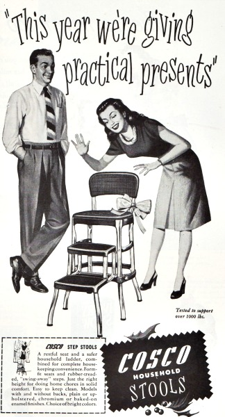 Xmas gift sexist ad illustration step stool