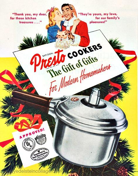 Vintage sexist Christmas ad Presto 1947