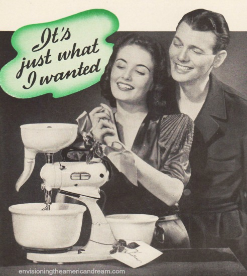 Vintage B&W photo couple and Food Mixer