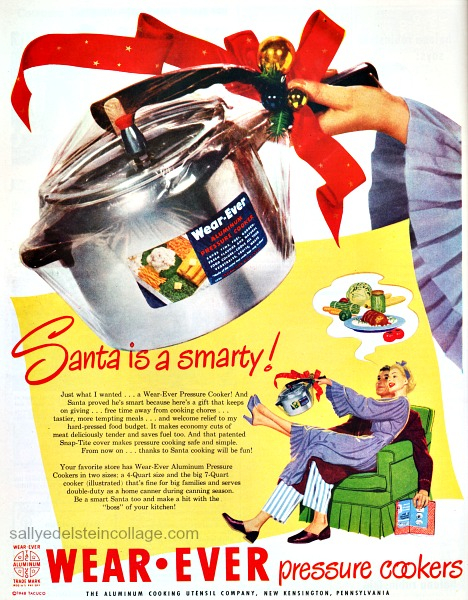 Vintage sexist Christmas Advertisement Wear-Ever Pressure Cooker 1948