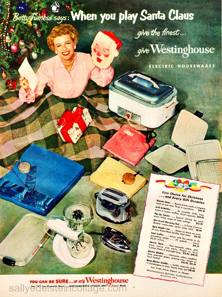 Vintage Christmas  Westinghouse Appliance Ad 1952 Betty Furness