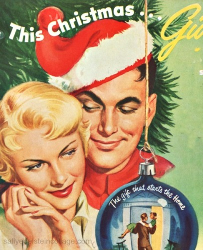 Vintage illustration husband wife in Santa hat