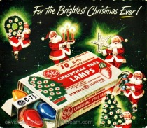 vintage illustration ad Santa and Xmas lights
