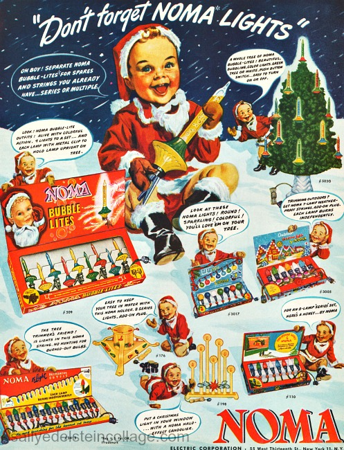 vintage ad illustration baby in Santa outfit xmas lights noma lights