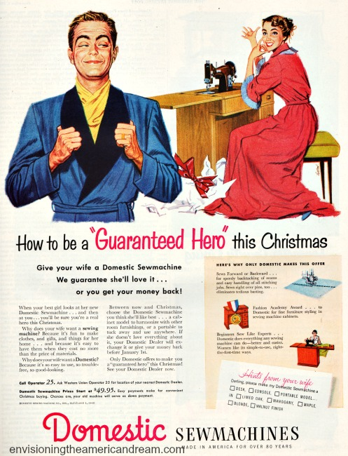 vintage ad illustration husband and wife Xmas present sewing machine