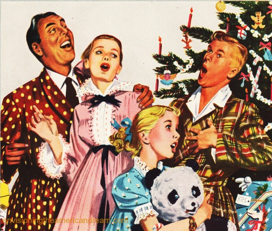 vintage illustration family around Xmas tree 1940s