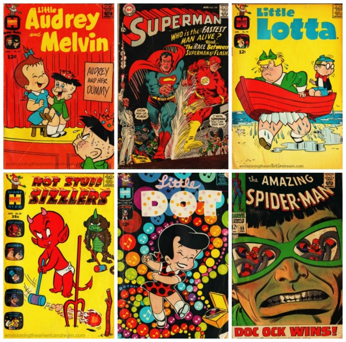 collage of vintage Comic Books