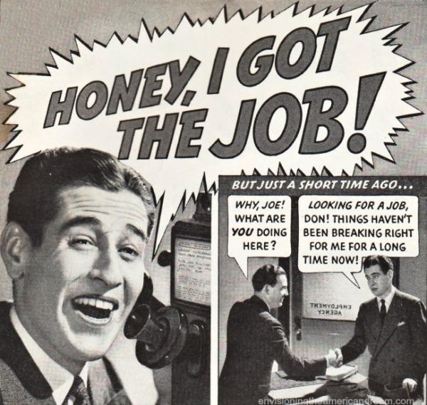 vintage photo man on phone Honey I got the job