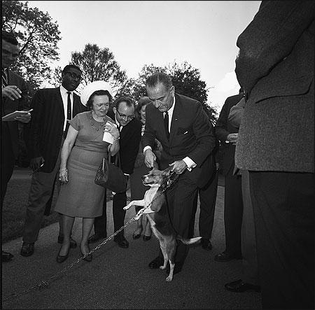 photo of LBJ lifting his beagle Him by his ears