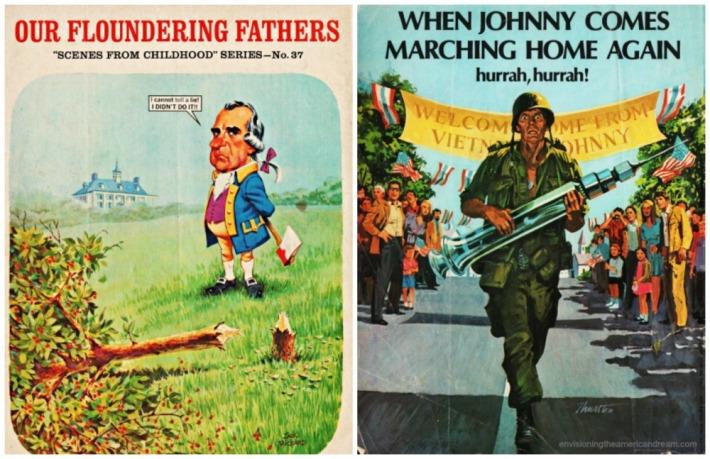 Mad Magazine 1970s illustrations Nixon as Washington Vietnam soldier