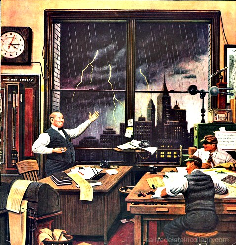 Vintage illustration of NY Weather Bureau by Steve Dohanos for Saturday Evening Post Cover 1946