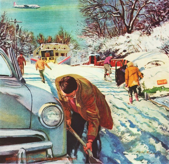 vintage illustration snow storm digging out