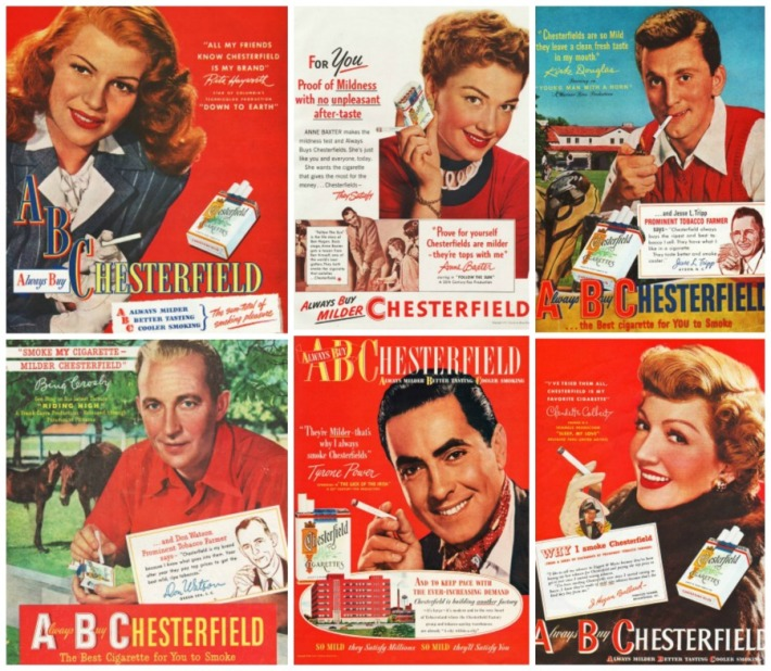 Hollywood Celebrity Endorsement Smoking Chesterfield Cigarette Ads