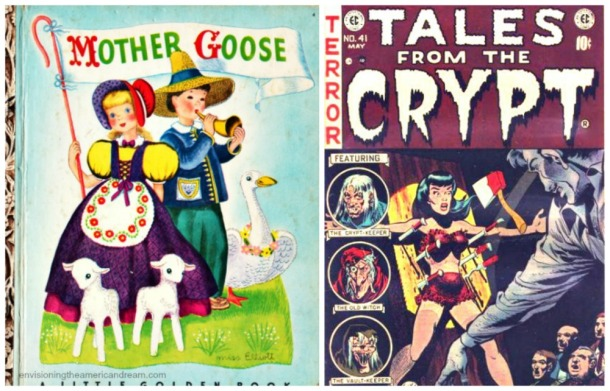 collage comic books Tales From the Crypt and Little Golden Book Mother Goose
