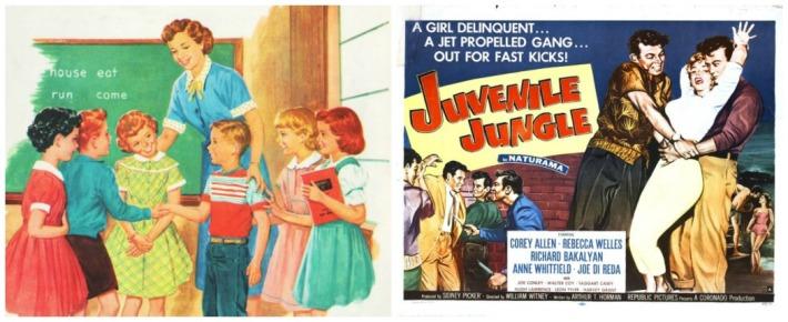 Collage Movie poster Juvenile Jungle and vintage illustration school children