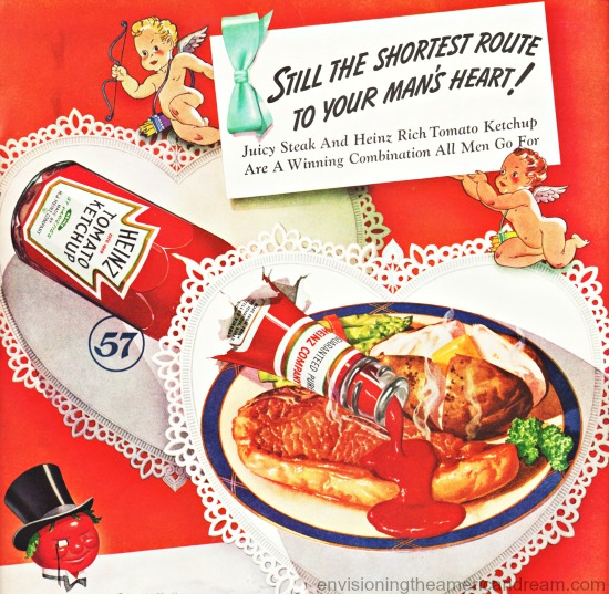 Vintage Heinz Ketchup Ad for Valentines Day 1940
