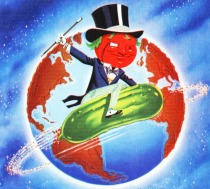 vintage illustration Tom Tomato circling the globe on pickle