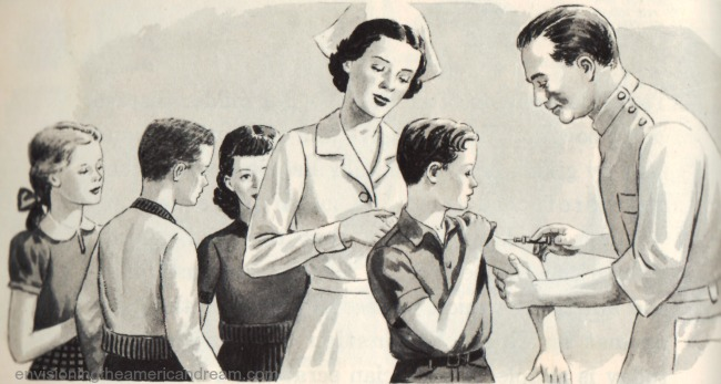 vintage illustration children gettingvaccinated