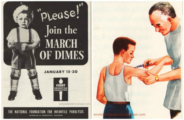 collage March of Dimes Poster and illustration of boy getting a vaccine