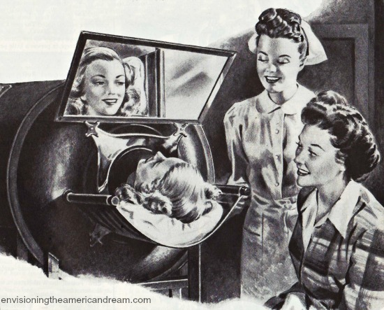 Vintage illustration of patient in an iron lung used in polio treatment
