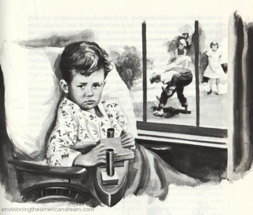 vintage illustration child in wheelchair