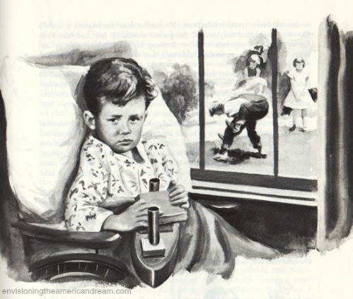 vintage illustration child in wheelchair